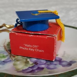 Vintage AVON 'Hats Off' photo key chain• boxed